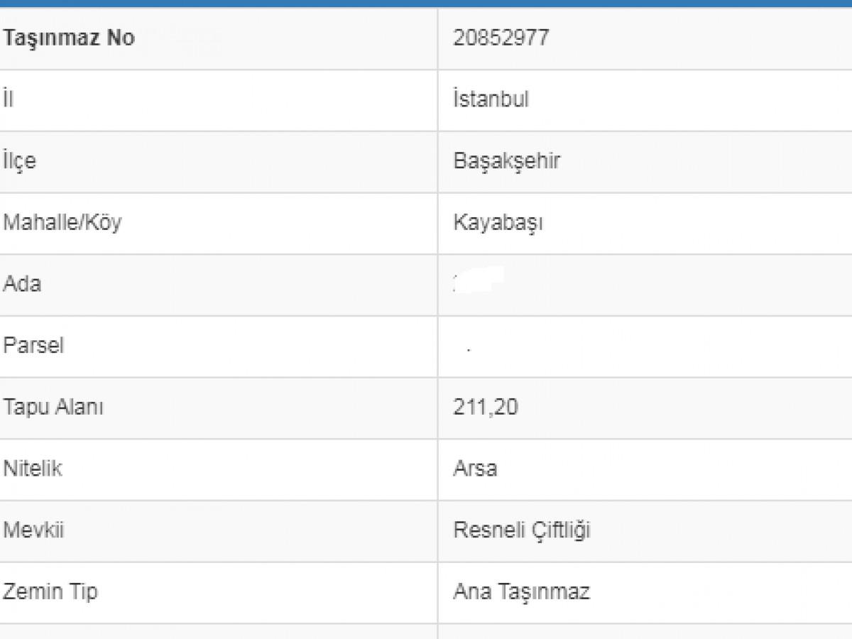 Acill Satilik  211 M2    Arsa Başakşehir Güvercintepe Mah - Büyük 1