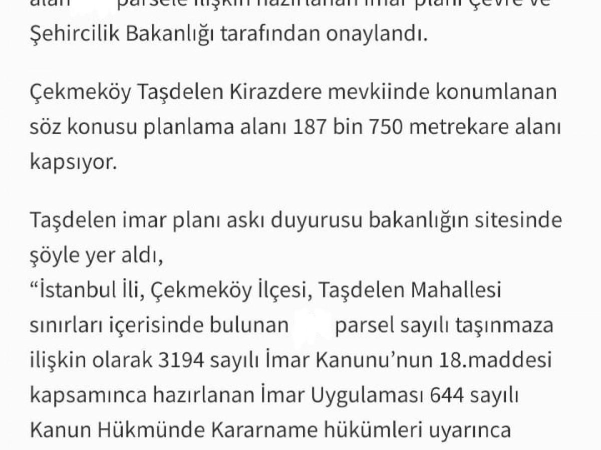 Çekmeköy Taşdelen 187.750,00 m2 Kat Karşılığı Arsa - Büyük 1