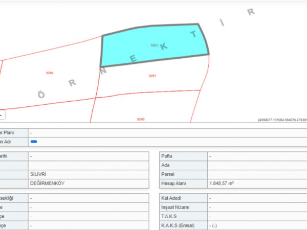 Silivri Değirmenköy'de Satılık 1.800 m² Tarla